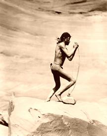 Navajo Stringing a bow, 1913