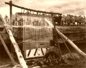 A Navajo weaving in 1915