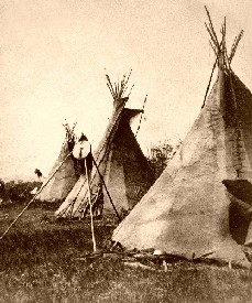 Nez Perce tipis in Montana, 1871.