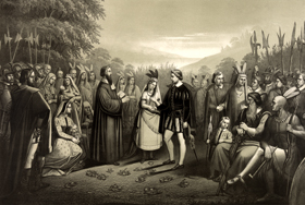 Pocahontas marries John Rolfe, by Joseph Hoover, 1867