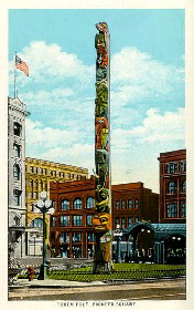 Totem Pole at Pioneer Square in Seattle Washington
