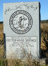 Cottonwood Springs, Nebraska marker
