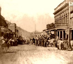 Virginia City, NV - Pioneer Stage leaving Wells Fargo, by Lawrence and Houseworth. 1866