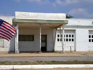 Restored gas station in Canute, Oklahoma