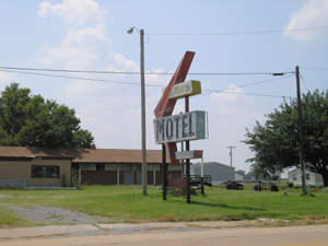 The old Washita Motel in Canute, Oklahoma.