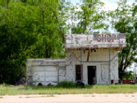 Old gas station in Texola, Oklahoma