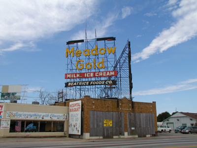 Gold Meadow Sign at original location in Tulsa, Oklahoma