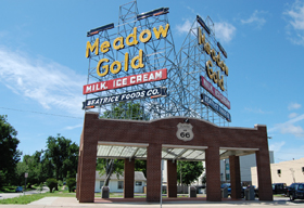 Gold Meadow sign, Tulsa, Oklahoma