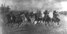 Cowboys fleeing, Frederic Remington, 1889.