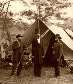 Allan Pinkerton, President Lincoln, and Major General John A. McClernand, 1862