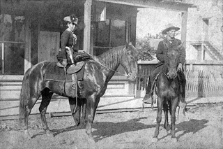 Belle Starr in Fort Smith, Arkansas 1886 with unidentified man on right.