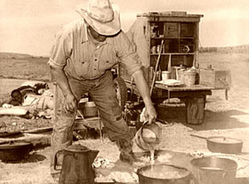 Camp cook near Marfa, Texas