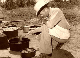Chuck Wagon cook near Spur, Texas, 1939.
