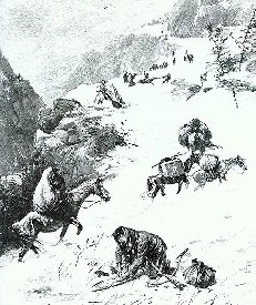 The Donner party stranded in the Sierra Nevada Range, 1847