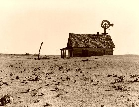 Dust Bowl days in Texas.