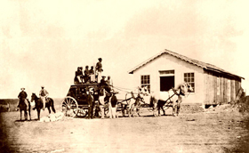 Butterfield Stagecoach at Fort Harker, Kansas.
