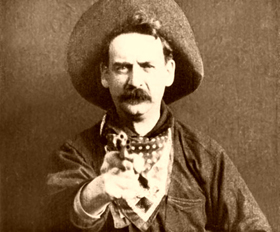 Photo still from the 1903 film, The Great Train Robbery.