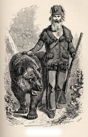 1860 illustration of Grizzly Adams