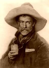 Cowboy drinking beer