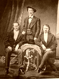 "Bill Hickok with ""Texas Jack"" OPmohundro and Buffallo Bill Cody."