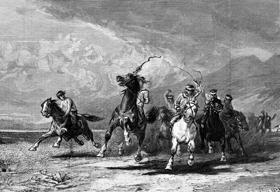 Indians rounding up horses