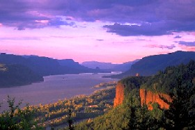 The Columbia River Gorge on the border of Washington and Oregon