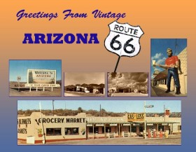 Greetings From Vintage Arizona Route 66 Postcard