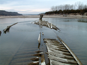 Ruins of the North Alabama steamship on the Missouri River