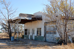 Old gas station along Route 66 in Adrian, Texas