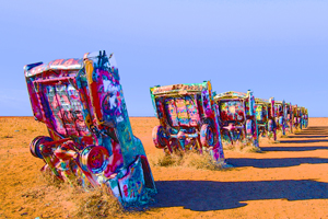 Enhanced photo of the Cadillac Ranch, Amarillo, Texas