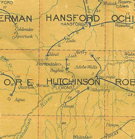 Hutchinson County, Texas Postal Map, 1907.