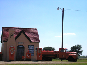 Restored Phillips Station in McLean, Texas