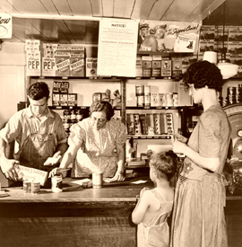 Shopping in a general store in Danville, Vermont,