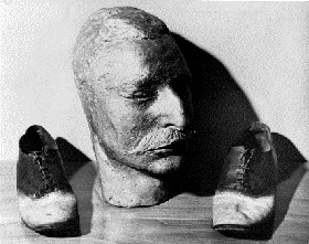Big Nose George's Death Mask and Shoes,