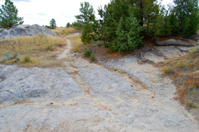 Oregon Trail ruts at Guernsey State Park, Wyoming