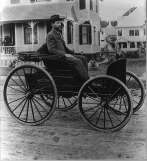 Charles E. Duryea in his third automobile (1893 or 94), photo Library of Congress