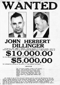 John Herbert Dillinger wanted poster.