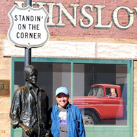 Kathy on the Corner in Winslow Arizona - Such a fine sight to see