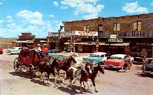 On US Highway 66. Postcard of the Longhorn Ranch in New Mexico