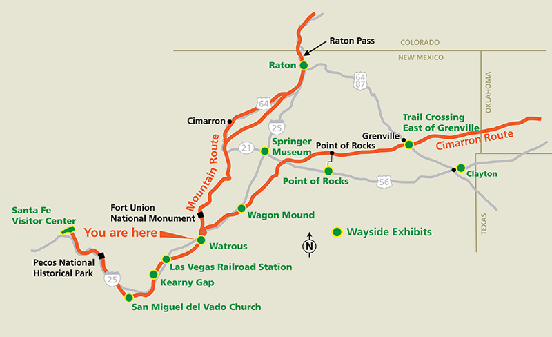Santa Fe Trail Through New Mexico - Map of new mexico towns