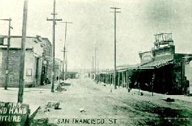 Vintage photograph of San Francisco Street in Santa Fe