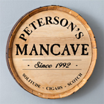 Personalized real oak whisky barrel signs