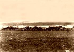 An ammunition train in the Civil War.