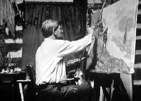 Charles M. Russell working in his studio in Great Falls, Montana.