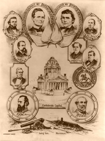 Confederate capitol surrounded by portraits of confederate governing officials