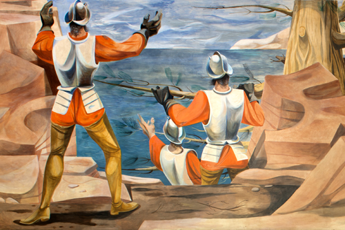 Conquistadors Discover the Pacific, a post office mural in San Francisco, California, painted by Anton Refregier.