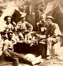 Dinner in a Civil War camp.