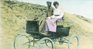 F.O. Stanley and wife Flora on first Automobile trip to top of Mt. Washington, August 31, 1899