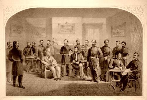 General Lee surrenders to General Grant.
