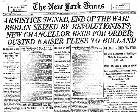 Front Page of the New York Times on November 11, 1918.